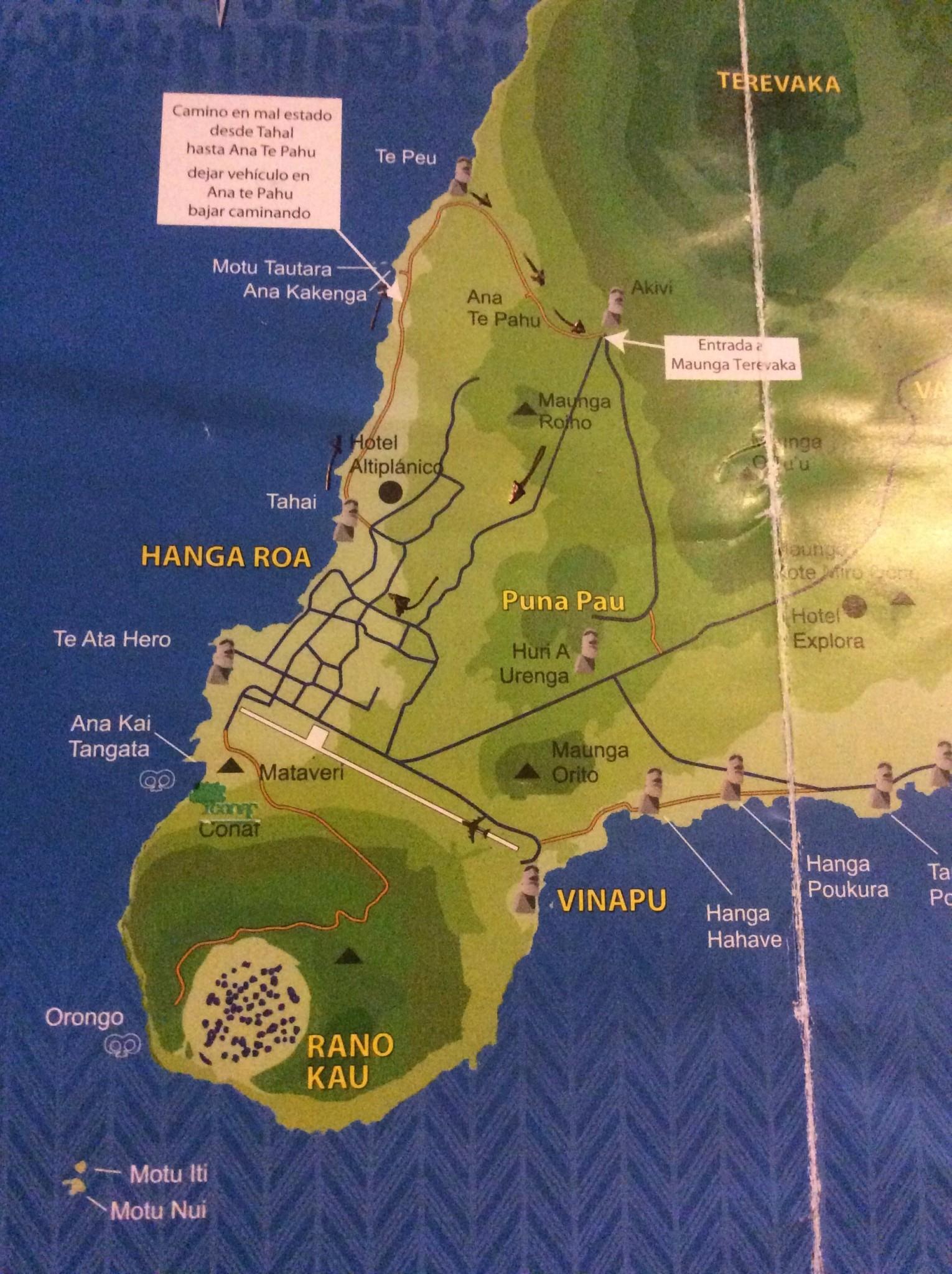 Sim, é a foto de um mapa bem gasto que foi muuuuuito usado nos 13 dias de Rapa Nui