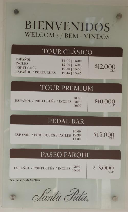 Os preços dos tours
