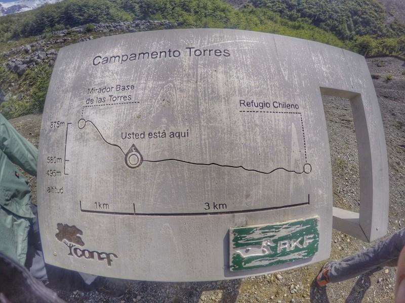 O desnível do primeiro dia do Circuito W - Chileno às Torres (falei que era só subida!)