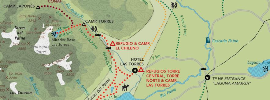 O primeiro dia do Circuito W começa com a chegada à Portaria, transfer até o Hotel Las Torres - opcional - e caminhada até o mirador das Torres del Paine